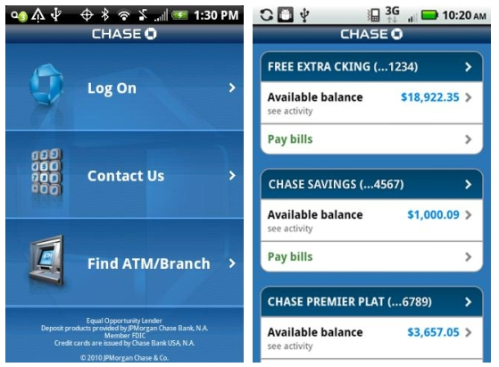 Chase Mobile app for Android: Deposit checks with your cameraphone