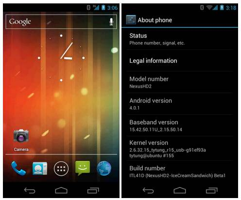 HTC HD2 with Android 4.0 Ice Cream Sandwich