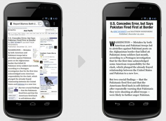 Firefox mobile reader mode